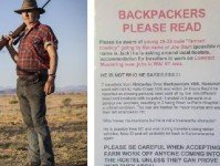 "The poster warning of a mysterious man calling himself ""'Joe Sturt' whom local hostel owners compared to Mick Taylor, the murderous villain of Wolf Creek."